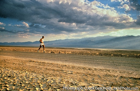 Death Valley, CA runner, parched earth.