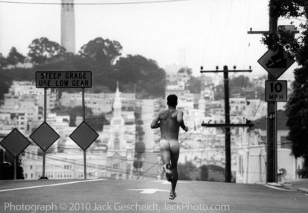 Coit Tower, SF naked runner
