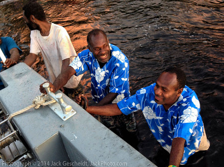 friendly tender (ferry) helpers, Tanna, Vanuatu